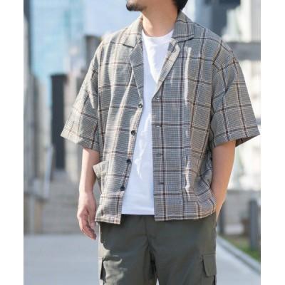 シャツ ブラウス 【a】TRチェック柄半袖テーラーシャツ