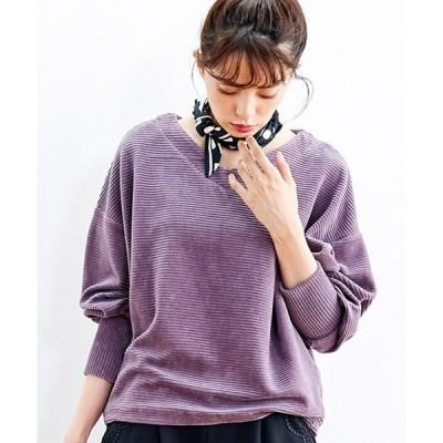 tシャツ Tシャツ リブ イン コンフォート 伸びるカットソーコーデュロイでらくちんキレイなドルマントップス