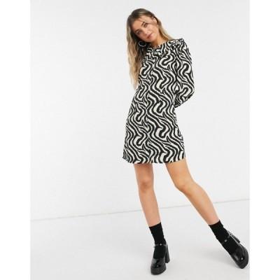 グラマラス Glamorous レディース ワンピース シフトドレス ミニ丈 Mini Shift Dress With Vintage Collar In Abstract Stripe アブストラクトゼブラ