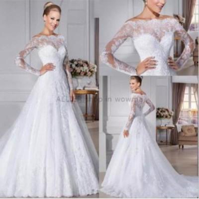 ウェディングドレス/ステージ衣装 エレガントなレースアップリケロングスリーブのウェディングドレスAラインホワイト/アイボリーの花嫁衣