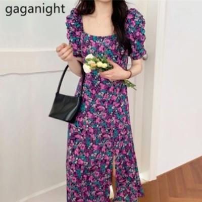 レディースファッション Gaganightレトロフラワードレス韓国のシックなスクエアカラーパフスリーブ帝国スリムロングVestid
