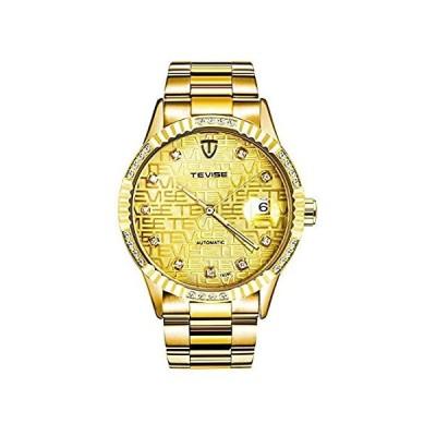 ダイヤモンドゴールドウォッチ メンズ 日付 夜光 防水 ビジネス 自動巻き 機械式 ステンレススチール 腕時計 39mm Full Gold【並行輸入品】