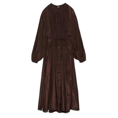 【ミラオーウェン】 ギャザーデザインシャツワンピース レディース ブラウン 0 Mila Owen