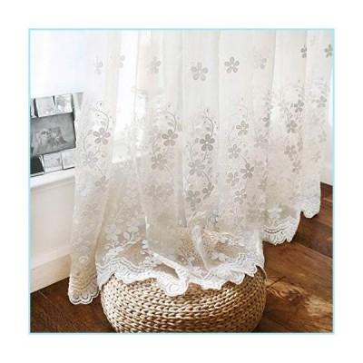 新品WINYY Romantic White Floral Sheer Curtain Sliding Glass Door & Parlor Decorative Curtain Embroidered Voile Curtain for Living Room Din