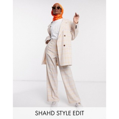 エイソス レディース カジュアルパンツ ボトムス ASOS DESIGN straight leg suit pants in orange check Check