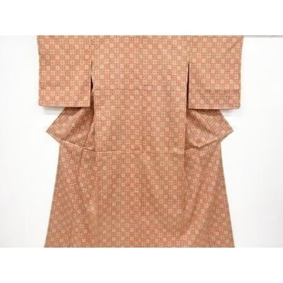 宗sou 市松に花模様織り出し西陣お召着物【リサイクル】【着】