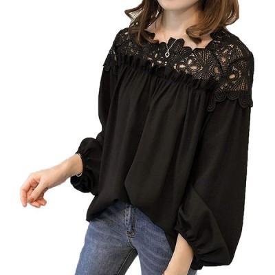 [ココチエ] シャツ ブラウス シフォン 長袖 レース バルーン袖 ゆったり 大きめ ギャザー とろみ 落ち感 白 黒 (ブラック, XXL)