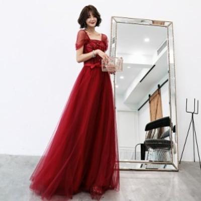 ウェディングドレス 二次会ドレス ロングドレス パーティードレス Aライン 結婚式 イブニングドレス 大きいサイズ 演奏会 カラードレス
