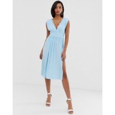 エイソス レディース ワンピース トップス ASOS DESIGN Premium Lace Insert Pleated Midi Dress Blue