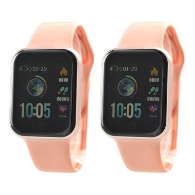 初心者向け 使いやすく見やすい ペアウォッチ 国内正規品 SMART R スマートR スマートウォッチ iPhone android 心拍 Line通知 NY07 PKNY07 PK 腕時計