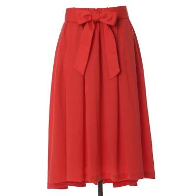 【エフデーゼ/EFDEISEE】 リボンベルト付きAラインフレアスカート