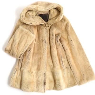 毛並み美品▼NORTH BEACH SAGA MINK ノースビーチ サガミンク フード付き本毛皮コート ベージュ 毛質艶やか・柔らか◎