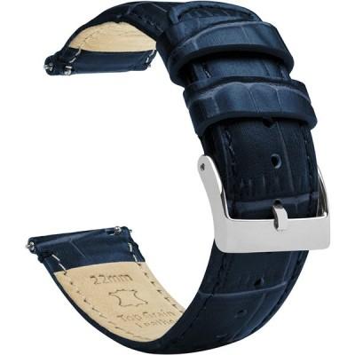 BARTON WATCH BANDS 20mm ネイビーブルー - ロング - アリゲーターグレイン - クイックリリース レザー 腕時計バンド 20