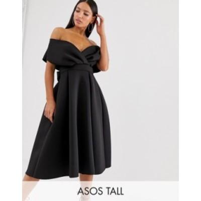 エイソス レディース ワンピース トップス ASOS DESIGN Tall fallen shoulder midi prom dress with tie detail Black