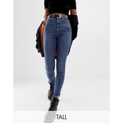 コルージョン レディース デニムパンツ ボトムス COLLUSION Tall x001 skinny jeans in mid wash blue