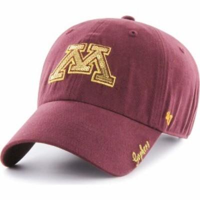 フォーティセブン 47 レディース キャップ 帽子 Minnesota Golden Gophers Maroon Sparkle Clean Up Adjustable Hat