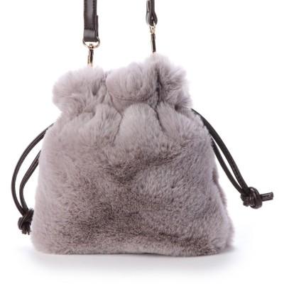 ヴィータフェリーチェ VitaFelice ファーバッグ ファーショルダーバッグ ミニショルダーバッグ 巾着バッグ (GRAY)