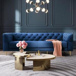 林氏木業輕奢天鵝絨拉扣三人布沙發 RBJ4K-寶藍色