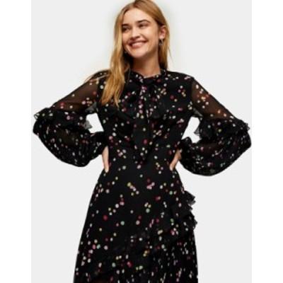 トップショップ レディース ワンピース トップス Topshop confetti rainbow dot midi dress in black Multi