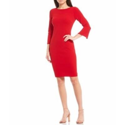 カルバンクライン レディース ワンピース トップス 3/4 Split Sleeve Scuba Sheath Dress Red