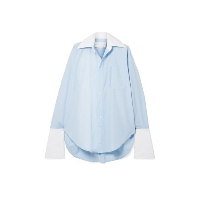 MATTHEW ADAMS DOLAN 無地シャツ&ブラウス  レディースファッション  トップス  シャツ、ブラウス  長袖 スカイブルー