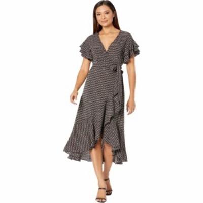 マックススタジオ MAXSTUDIO レディース ワンピース ラップドレス ワンピース・ドレス Short Sleeve Woven Wrap Dress Black/Red