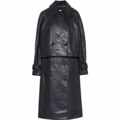 ティビ Tibi レディース トレンチコート アウター convertible faux leather trench coat Dark Navy