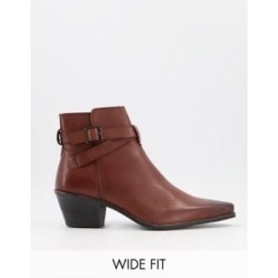 エイソス メンズ ブーツ・レインブーツ シューズ ASOS DESIGN Wide Fit cuban heel western chelsea boots in brown leather with strap