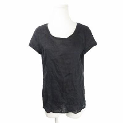 【中古】ルスーク Le souk Tシャツ カットソー 半袖 切替 麻 リネン 38 黒 ブラック /AH14 ☆ レディース