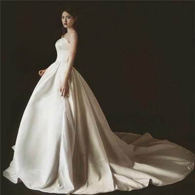 花嫁二次会 パーティドレス 無地 露背ドレス 花嫁ロングドレス ウェディングドレス 復古 サテン ドレス 締上げタイプ