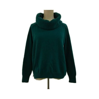 【中古】サクラ SACRA セーター ニット オフタートル ウール カシミヤ混 無地 長袖 38 緑 グリーン レディース 【ベクトル 古着】