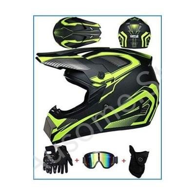 TOPLOOS Adult Full Face Motocross Helmet Black with Goggles Gloves (4 Pcs) Motorbike Cross Helmet Set Kids Motorcycle Crash Helmet for MTB Downhill Di