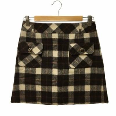 【中古】ファビュラス Fabulous スカート 台形 ミニ ウール チェック S 茶 ベージュ ブラウン 〇 レディース