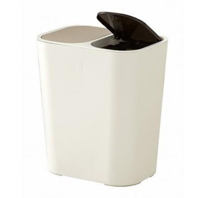 ゴミ箱 15L 分別 小型 小さい ごみ箱 ふた付き 部屋用 室内 ダストボックス 分別ゴミ箱 ホワイト ( リビング ペール 2分別 袋が見えない プッシュ式 白 )