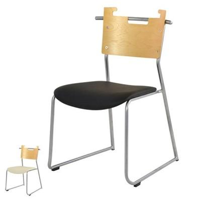 チェア 座面高44cm スタッキングチェア 積み重ね オフィス 椅子 イス ソフトレザー 木製 ( いす ダイニングチェア オフィスチェア ミーティングチェア )