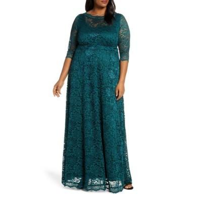 キヨナ ワンピース トップス レディース Leona Lace Evening Gown Emerald Green