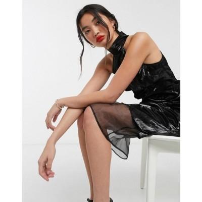 エイソス ASOS WHITE レディース ワンピース ミドル丈 ワンピース・ドレス wet look high neck column midi dress ブラック