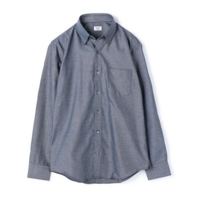 シャツ ブラウス コットン杢調ツイルシャツ