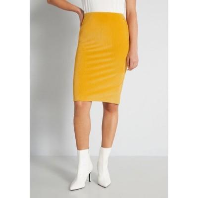モドクロス ModCloth レディース ひざ丈スカート ペンシルスカート スカート courteous corduroy pencil skirt yellow