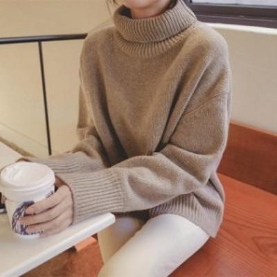 トレンド 売れ筋 ニット セーター タートルネック 無地 長袖 シンプル ゆったり ドロップショルダー hf00507