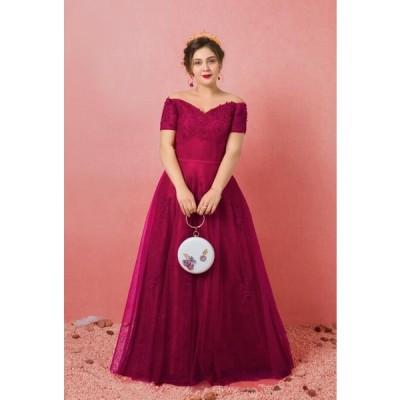 【大きいサイズロングカラードレス】パーティードレス/ウェディングドレス/ウエディングドレス/編み上げタイプ/【ワインレッド】【XL−7XLサイズ】fhk14
