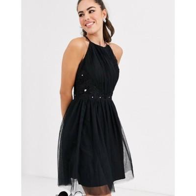 リトルミストレス レディース ワンピース トップス Little Mistress square high neck skater dress