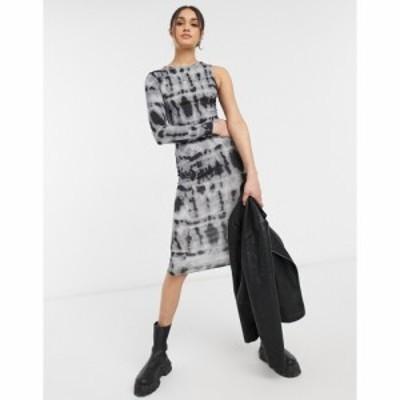 エイソス ASOS DESIGN レディース ワンピース ワンピース・ドレス One Shoulder Long Sleeve Midi Dress In Tie Dye Print マルチカラー
