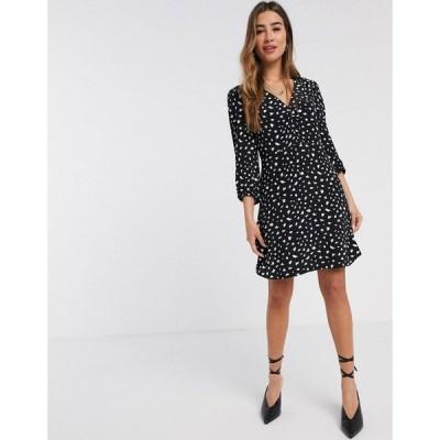 マンゴ Mango レディース ワンピース ミニ丈 ワンピース・ドレス mini dress in abstract spot print ブラック