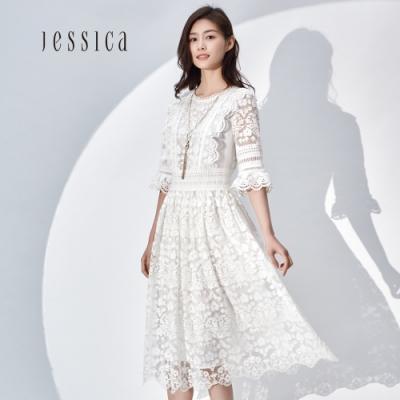JESSICA- 白色鏤空刺繡蕾絲浪漫中長洋裝