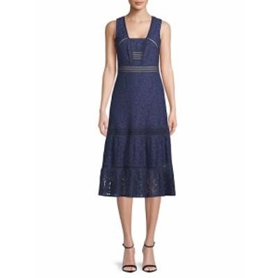 ニコールミラー レディース ワンピース Box Neck Lace Midi Dress