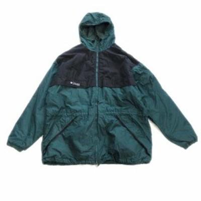 【中古】コロンビア Columbia 90's 中綿 ジャケット ブルゾン パーカー フード ロゴ 刺繍 アウトドア ▽4