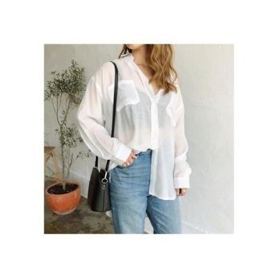 シーナ SHEENA 胸ポケット付きシアーシャツ (ホワイト)