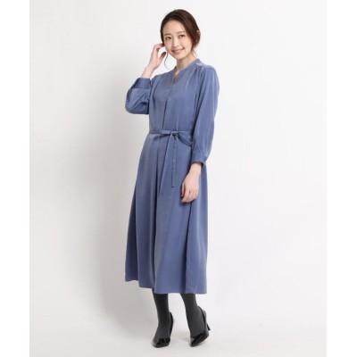【スーナウーナ】 ピーチサテンキーネックワンピース レディース ブルー 38(M) SunaUna