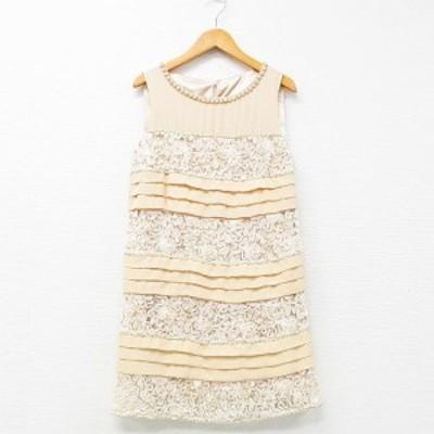 【中古】ノーブランド ワンピース ドレス ひざ丈 ティアード パール装飾 ライトベージュ アイボリー 38 レディース
